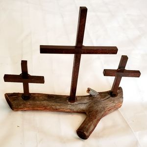 Rustic home-made 3D Iron Art Three Crosses on Wood